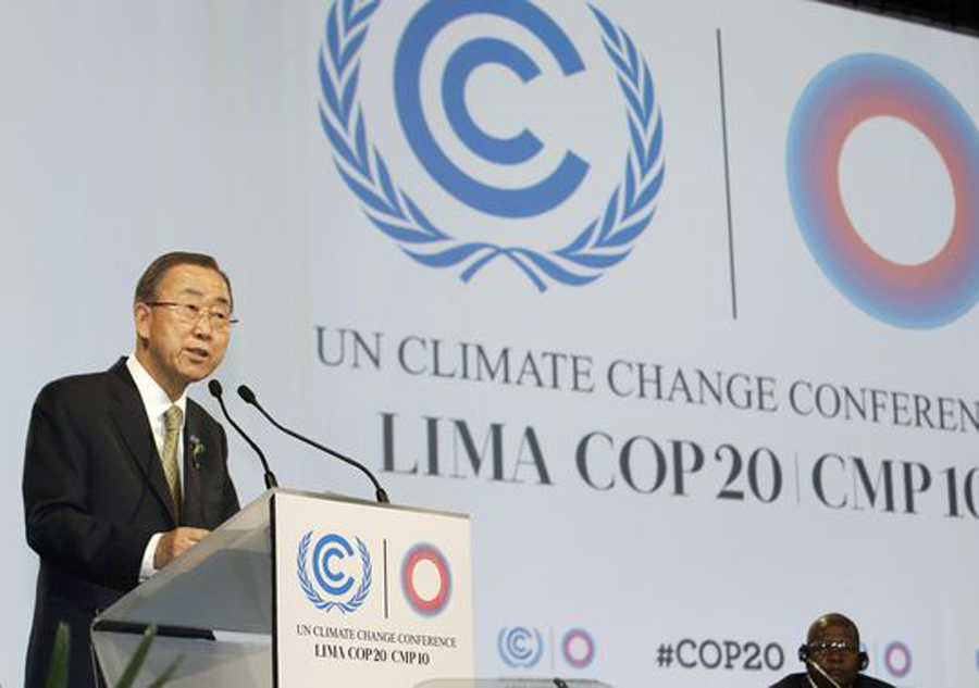 United Nations Secretary-General Ban Ki-moon speaks during the inauguration of the U.N. Climate Change Conference in Lima, Peru, on Dec. 9.