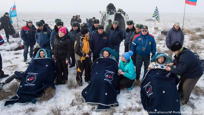 A safe return to Earth of three space station crew