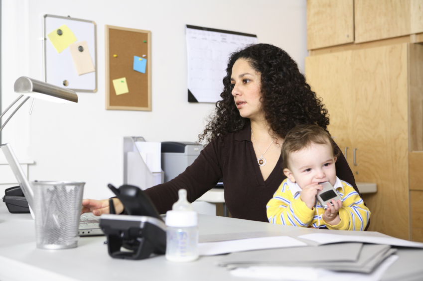 educated woman working with child