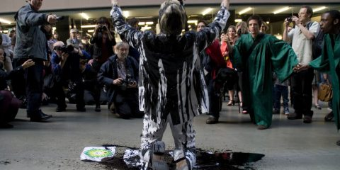 Protesting against BP in front of the Tate Gallery in London Photo by Sophie Molins