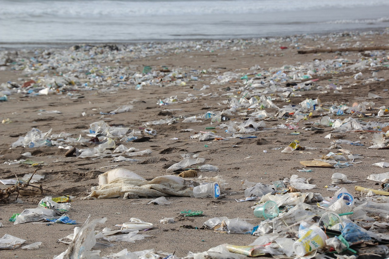 beach pollution Ocean pollution, also known as marine pollution, is the spreading of harmful substances such as oil, plastic, industrial waste and chemical particles into the ocean.